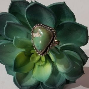 Natural green Turquoise/sterling silver Ring